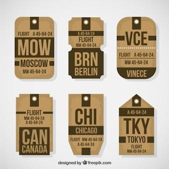 Etiquetas de viaje vintage marrones