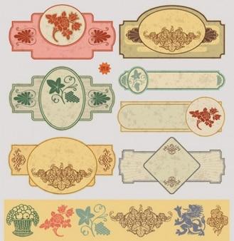Etiquetas decorativas de la vendimia para el diseño web