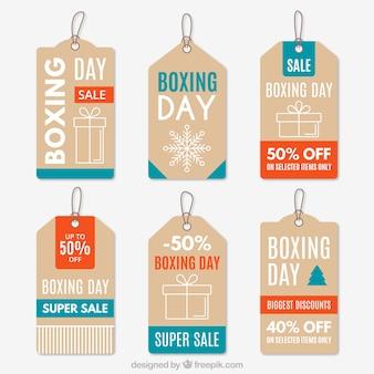 Etiquetas fantásticas del boxing day con descuentos