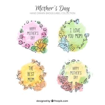 Etiquetas florales dibujadas a mano para el día de la madre