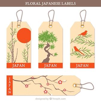 Etiquetas japonesas con temas florales