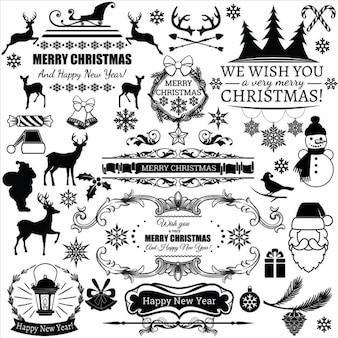 Etiquetas negras de navidad