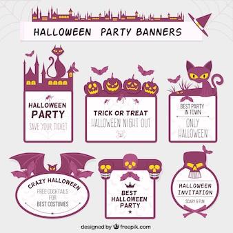 Etiquetas púrpura de Halloween