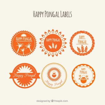 Etiquetas redondas naranja de Pongal