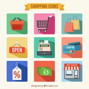 etiquetas retro de compras