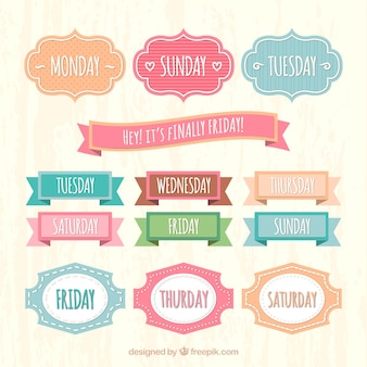 Etiquetas semanales en el estilo retro