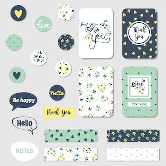 Etiquetas, tarjetas y pegatinas sobre el amor
