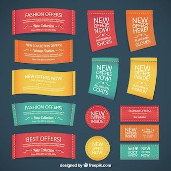 Etiquetas textiles de moda en estilo colorido