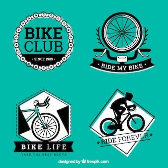 Etiquetas verde y negras de bicicletas