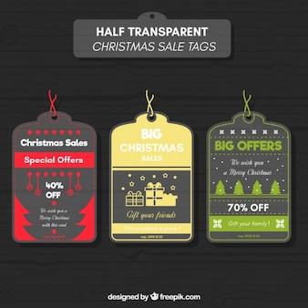Etiquetas vintage de rebajas de navidad