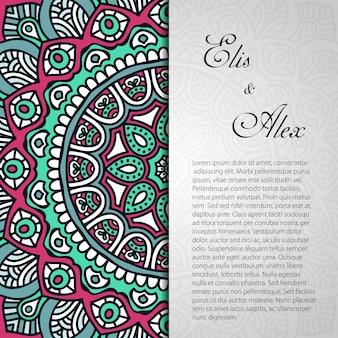 étnica invitación de boda de mandala con espacio para texto