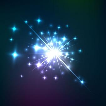 Explosión de luz con estrellas