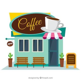 Fachada de cafetería en diseño plano