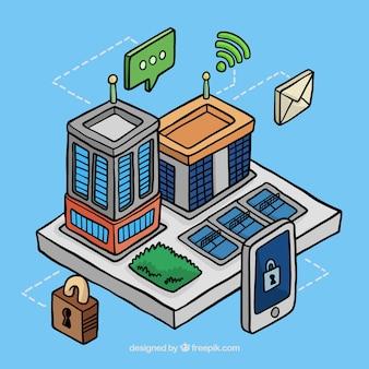 Fachada de edificios de negocios en estilo isométrico con elementos