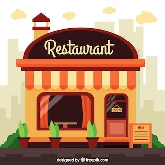 Fachada de restaurante en diseño plano