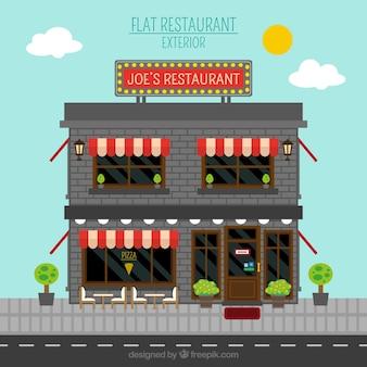 Fachada de restaurante es estilo plano