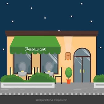 Fachada elegante de restaurante en diseño plano