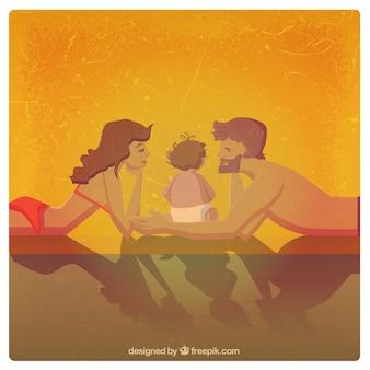 Familia feliz en verano