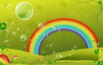 Fantasía burbujas arco iris vector mundo