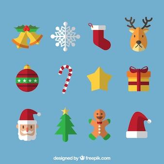 Fantástica colección de artículos navideños en estilo plano