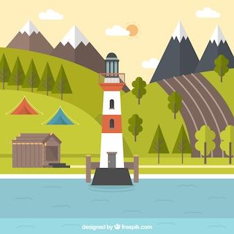 Faro con un maravilloso paisaje natural