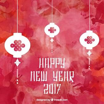 Faroles de año nuevo chino sobre fondo de acuarela