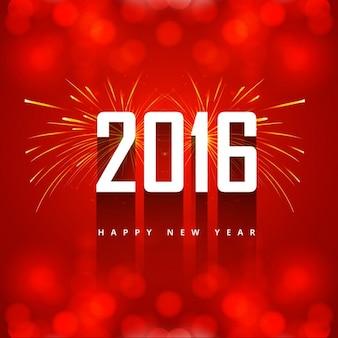 Felicitación de año nuevo 2016 con fuegos artificiales