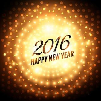 Felicitación de feliz año nuevo 2016 resplandeciente