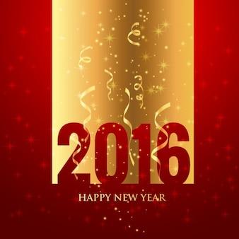 Felicitación de año nuevo dorada y roja