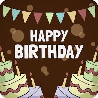 Felicitación de cumpleaños en un fondo de madera