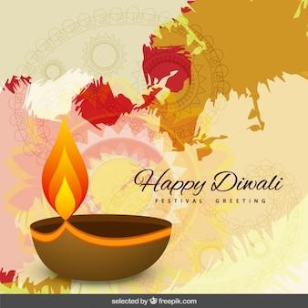 Felicitación de Diwali con una vela