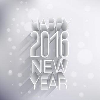 Felicitación de feliz año nuevo 2016 en estilo 3d