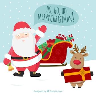 Felicitación de navidad  de Papá Noel y reno