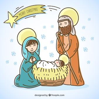 Felicitación de navidad de portal de belén