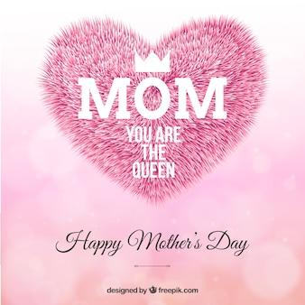 Felicitación del día de la madre con corazón de pelo