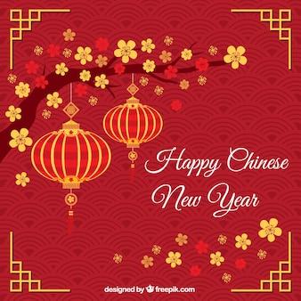 Felicitación roja con farolillos del año nuevo chino