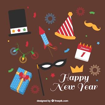 Feliz año nuevo con fantásticos elementos planos