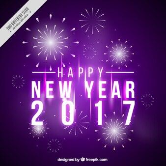 Feliz año nuevo, fondo púrpura con fuegos artificiales