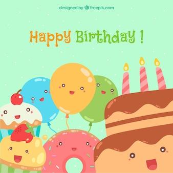 Feliz cumpleaños con globos y pasteles sonrientes