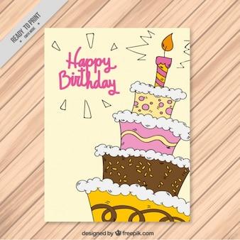 Feliz cumpleaños con un pastel dibujado a mano