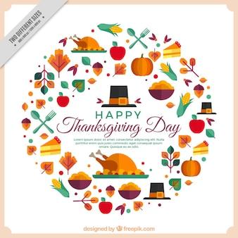 Feliz día de acción de gracias con elementos geométricos