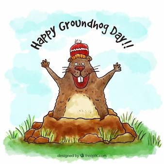 Feliz día de la marmota dibujada a mano