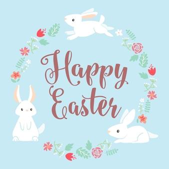 Feliz  día de pascua con conejo y marco floral