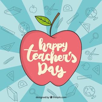 Feliz día del profesorado, manzana con lettering