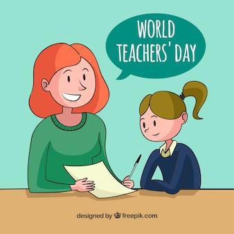 Feliz día del profesorado, una niña aprendiendo