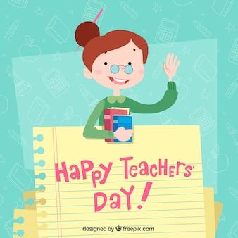 Feliz día del profesorado, una profesora con una hoja de cuaderno