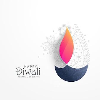 Feliz diwali tarjeta de felicitación de vacaciones con decoración de paisley y diya fondo