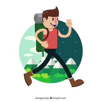 Feliz excursionista viajando alrededor del mundo