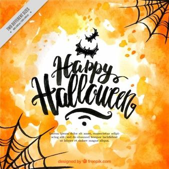Feliz halloween con murciélagos y telarañas