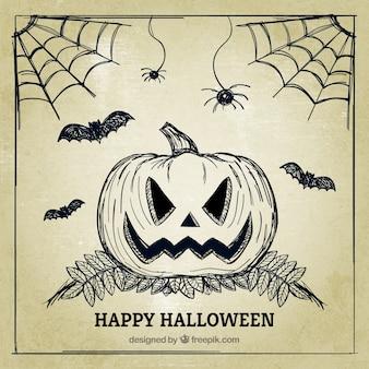 Feliz halloween con un fondo vintage